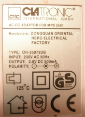 CLATRONIC AC-DC Adapter for MPS 2681